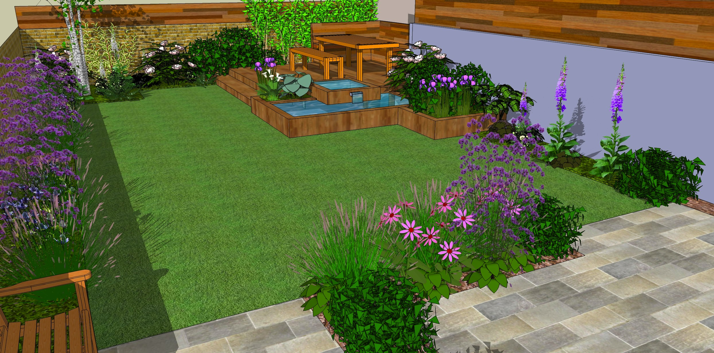 Low maintenance garden designs garden club london for Back garden simple designs